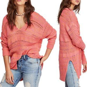 NEW Free People XS Hot Tropics V Neck Sweater Pink